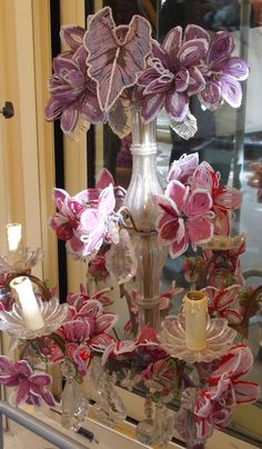 Beaded flowers ... Really lovely, but do they ever attract dust! ... Soft facial make-up brush used once every 4-6 days ... getting between rows of beading ... will deter any dust build-up.