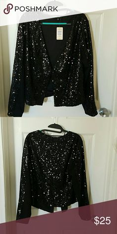 Torrid Black Sequin Jacket NEVER WORN. Open front, draped cut style with solid black panels under the sleeved. Torrid  Jackets & Coats