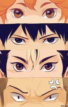 Haikyuu Eyes by Viria  Hinata Shouyo, Kageyama Tobio, Nishinoya Yuu, Tanaka Ryuunosuke