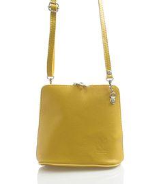 Hořčicová dámská kožená kabelka crossbody 10053