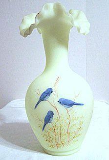 """Fenton - Bluebirds on Custard - Vase 10"""" - Hand Painted - Gloria Finn"""
