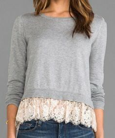 Cute sweater with lace trim at the bottom.