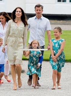Crown Prince Frederik, Crown Princes Mary and Princesses Isabella and Josephine at Grasten Palace 7/19/2015