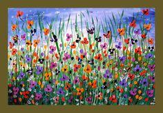 Poppy Flower Field Textured Original by DistinctiveModernArt, $175.00