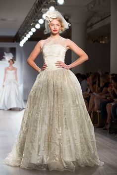 New York Fashion week Champagne organza wedding gown by Jaime Elyse Organza Wedding Gowns, Wedding Gowns With Sleeves, Gown Designer, Fashion Week 2015, Layered Skirt, Red Carpet Looks, Couture Collection, Ball Gowns, Champagne