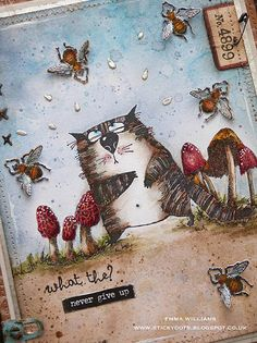 Thank you for all your visits to last week's post, all your lovely comments and sweet words mean so much to me and I appr. Crazy Bird, Crazy Cats, Crazy Animals, Distress Markers, Distress Ink, Tim Holtz Dies, Art Journal Tutorial, Anna Griffin Cards, Cat Cards