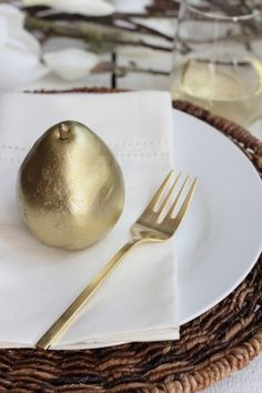 Simple Holiday Table Setting with Gold Flatware from west elm