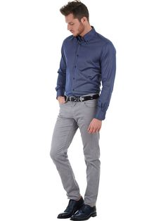 Italian blue Jacquard shirt with button-down collar