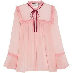 Gucci Lace-trimmed crinkled silk-chiffon blouse ($1,060) ❤ liked on Polyvore featuring tops, blouses, pink, gucci, silk chiffon blouse, silk chiffon top, lace trim top and gucci blouse