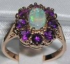 SOLID 14K ROSE GOLD NATURAL FIERY OPAL  AMETHYST RING - amp, Amethyst, FIERY, Gold, NATURAL, Opal, Ring, Rose, solid
