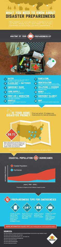 When making disaster preparedness plans, it's important to have all your bases covered. Learn how to prepare for natural disasters with this infographic. Survival Life, Survival Food, Camping Survival, Survival Prepping, Survival Skills, Survival Equipment, Bushcraft Camping, Prepper Food, Survival Videos