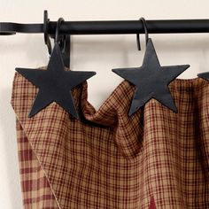 Star Shower Curtain Hooks Black set of 12 ~Irvin's country tinware Primitive Shower Curtains, Primitive Bathroom Decor, Primitive Kitchen, Primitive Crafts, Country Primitive, Primitive Colors, Kitchen Curtains, Country Decor, Rustic Decor