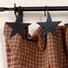 Star Shower Curtain Hooks Black set of 12