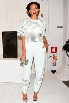Solange Knowles made a statement in a black and white dress and bright satin heels at MoMa. Description from pinterest.com. I searched for this on bing.com/images