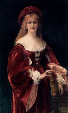 """Alexandre Cabanel (1823-1889) Patricienne de Venise Oil on canvas 1881 130.5 x 80.3 cm (51¼"""" x 31½"""") Private collection"""