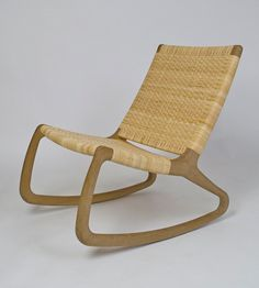 Amazing handcrafted rocking chair from Shawn Place Designs is seriously calling my name. (via designsponge) White Wooden Rocking Chair, Rattan Rocking Chair, Rocking Chair Plans, Outdoor Rocking Chairs, Adirondack Chairs, Woven Chair, Painted Wooden Chairs, Chair Design Wooden, Wooden Dining Chairs