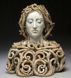 Janus - Adrian Arleo is an extraordinarily imaginative ceramic artist and her pieces communicate a sophisticated exploration. Ceramic Figures, Clay Figures, Ceramic Artists, Pottery Sculpture, Sculpture Clay, Ceramic Sculpture Figurative, Figurative Art, Sculpture Projects, Sculpture Ideas