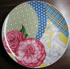 Decorative Dishes - Pink Roses Blue Plaid Polka Dots Yellow Toile Green Geometric Plate, $19.99 (http://www.decorativedishes.net/pink-roses-blue-plaid-polka-dots-yellow-toile-green-geometric-plate/)--Kné.A.
