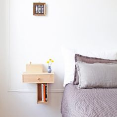 10 Easy Pieces: Wall-Mounted Bedside Shelves with Drawers (Remodelista: Sourcebook for the Considered Home) Wall Mounted Bedside Table, Bedside Shelf, Bedside Drawers, Mounted Shelves, Drawer Shelves, Wall Shelves, Bedside Tables, Nightstand, Floating Drawer