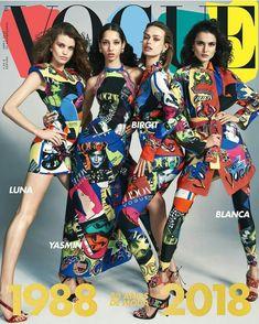 Luna Bijl, Birgit Kos, Blanca Padilla and Yasmin Wijnaldum on the cover of Vogue Spain April 2018
