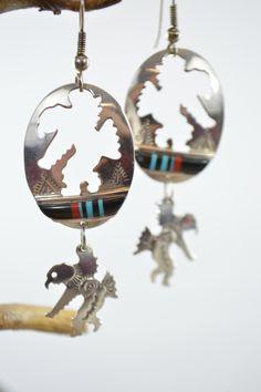 Navajo Dangling Earrings Sterling Silver Inlaid American Eagle Dancer