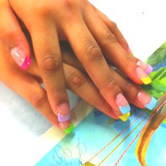 Pastel color French tips