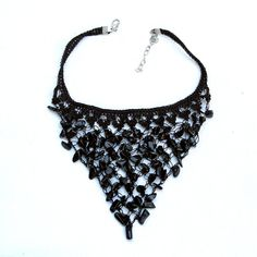 Black Crochet Bib Necklace Beaded Jewellery by aniesjewelry Crochet Bib, Crochet Necklace, Beaded Necklace, Necklaces, Beaded Jewellery, Textile Jewelry, Morhers Day Gifts, Jewelry Trends, Necklace Lengths