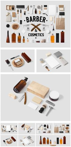 Barber and Cosmetics branding mock-up.