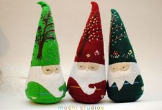 Moldes de arbolito navideño en fieltro