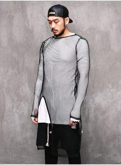 Mens XQUARE 23 Asymmetric Long Extended Mesh Net Tshirt at Fabrixquare