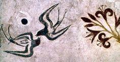 swallows    (detail) minoan akrotiri, thera (santorini) - middle cycladic III or late minoan, circ1550 b.c.,
