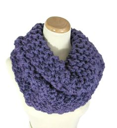 Purple Cowl Outlander Inspired Cowl,  Hand Knit Cowl,  Knit Scarf, Circle Scarf, Purple Scarf, Winter, Infinity Scarf, Chunky Scarf - pinned by pin4etsy.com