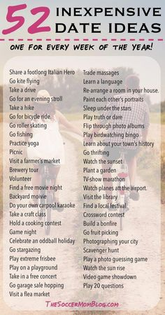 52 Free or Cheap Date Ideas - A whole YEAR of weekly date night ideas! Build your marriage without breaking the bank -- You'll never run out of things to do with this list of creative and inexpensive date ideas! Marriage Relationship, Happy Marriage, Marriage Advice, Dating Advice, Love And Marriage, Marriage Romance, Relationship Building, Dating Divas, Relationship Bucket List