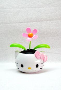 NEW~~Cute Hello Kitty Flower Pot Flip Flop Solar Power