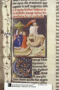 Abduction of Europa. From Boccacio, de mulieribus claris/Le livre de femmes nobles et renomées (trad. anonyme), early 15C French (Paris). Bibliothèque nationale, Paris. MS Français 598, fol. 18.