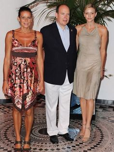 Princess Stephanie, Prince Albert, and Princess Charlene