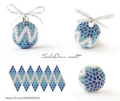 Crochet Ornament Patterns, Bead Loom Patterns, Beading Patterns, Quilted Ornaments, Crochet Christmas Ornaments, Felt Christmas, Homemade Christmas, Christmas Crafts, Christmas Decorations