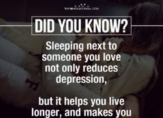 human psychology facts: sleeping next to someone you love not only reduces depression, but it helps you live longer, and makes you Psychology Questions, Psychology Fun Facts, Psychology Says, Psychology Quotes, Eye Facts, Brain Facts, Interesting Facts About Humans, Facts About Love, Physiological Facts