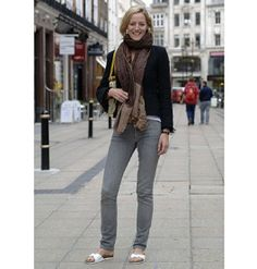 Lydia Gard, 26 Jacket - ZaraScarf bought in India Grey skinny jeans - Sass & Bide Birkenstock sandals Bag - Topshop Tips on what to wear in this weather: 'I had to go back home this morning when i came out for my jacket and scarf. - Fashion Galleries - Telegraph