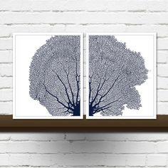 Set of 2 Sea Fan Coral Prints - Sea Fan Wall Art in Navy Blue - Two Coral Sea Fan Prints - Sea Fan Diptych