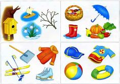 Карточки времена года для детей Fall Preschool Activities, Educational Activities, Weather For Kids, Nursery School, Montessori Materials, Science And Nature, Four Seasons, Playroom, Kindergarten