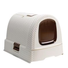Toaleta Curver Rattan - béžová (vintage) - U Zlatého retrívra. Rental Home Decor, Cat Litter Tray, Toilette Design, Cat Toilet, Box Houses, Moca, Toilet Cleaning, Box With Lid, Pet Life