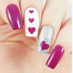 Our Triple Heart Nail Stencil has a large, medium and small heart all in a row. The hearts in this nail stencil can also be used as Heart Nail stickers. Valentine's Day Nail Designs, Pretty Nail Designs, Great Nails, Cute Nails, Fancy Nails, Pink Nails, Aloha Nails, Nailart, Nail Stencils