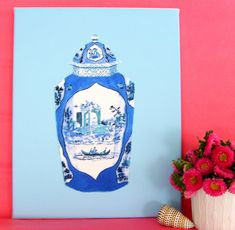 BLUE WORCESTER JAR on stretched canvas 16x20 by annechovie on Etsy, $100.00