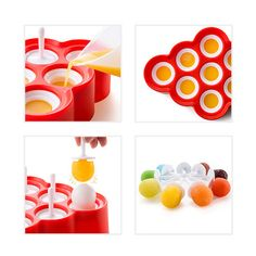 Mini Pop Molds lets you create nine mini pops. No need to run under warm water to release - when your pops are frozen, simply pull out your mini pop and enjoy! Mini pops are just the right proportion for small children! The Zoku Mini Pop Molds is great for families, parties, or as an addition to the other Zoku Slow-Pop™ family shapes!