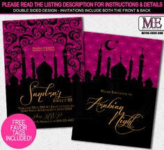 Arabian Nights Invitation, Digital File: Custom Invitations, this is a printable file, I email the files to you, and you can print as many as you need.  CHECK OUT MY STORE ON ZAZZLE! OTHER MATCHING PARTY ITEMS:  http://www.zazzle.com/metroevents?rf=238407781551554269 ALL FILES COME 1 PER PAGE,...