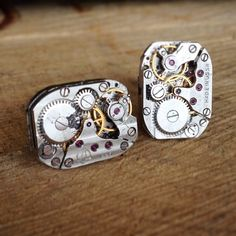 Super cool steampunk cufflinks made from old russian watches. Got them from a market in england. Photo taken with iPhone, edited in instagram