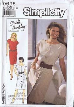 One Piece Dress Sewing Pattern Simplicity 9696 Size 4 12 Bust 29 5 34 Uncut One Piece Dress, Two Piece Skirt Set, Maternity Patterns, Maxi Dress Tutorials, Vestidos Retro, Christie Brinkley, Miss Dress, Simplicity Sewing Patterns, Retro Look