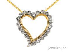 Kette mit Anhänger und Diamanten. Edler Diamantschmuck zum Valentinstag bei www.jewels24.de Das Collier besteht aus einem Anhänger in Form eines Herz, der mit 22 Diamanten im Brillant Schliff voll besetzt ist und einer feingliedrigen Zopfkette. Der Anhänger der Halskette ist in Herz Form gearbeitet und die Oberfläche hochglanzpoliert. Die Kette ist damit ein schönes Zeichen der Liebe zum Valentinstag. #schmuck #kette #valentinstag #jewels24