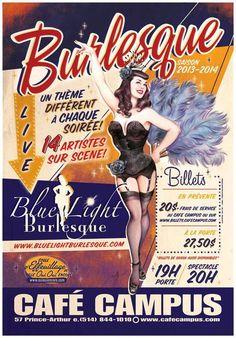 Poster Blue Light Burlesque 2013-2014 illustration Maly Siri http://bluelightburlesque.com #burlesque #montreal